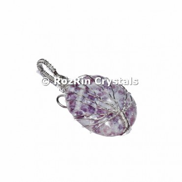 Lepidolite Tree Of Life Pendant