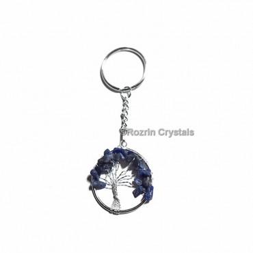 Blue Aventurine Flower Of Life Keychain