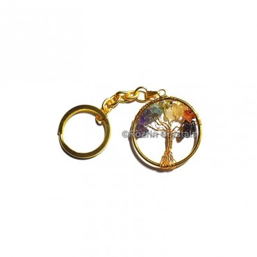 Chakra Tree Of Life Golden Keychain