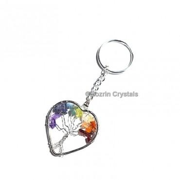 Chakra Tree Of Life Heart Keychain
