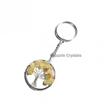 Citrine Tree Of Life Keychain