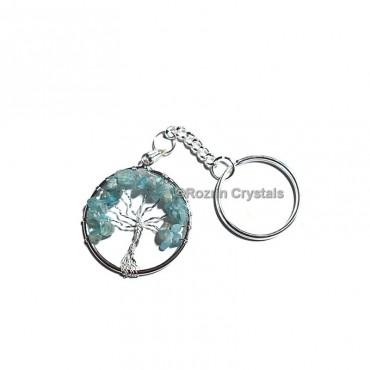 Aquamarine  Tree Of Life Keychain
