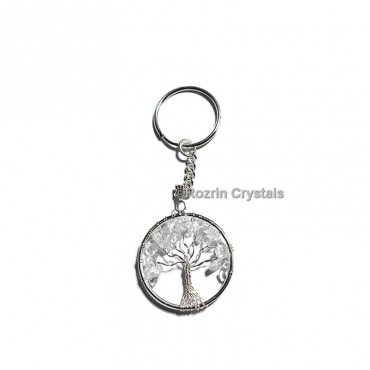 Crystal Quartz Tree Of Life Keychain