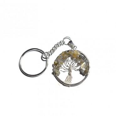 Lemon Quartz Tree Of Life Keychain