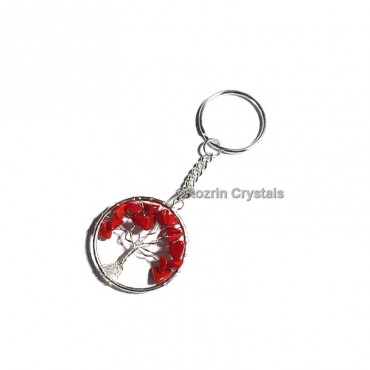 Red Synthatic Coral Tree Of Life Keychain