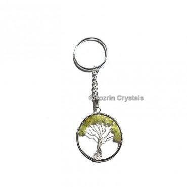 Peridot tree Of Life  Key Chain