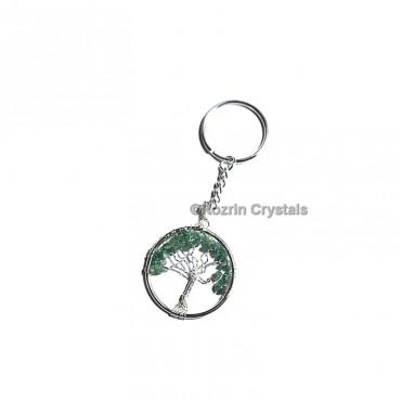 Green Jade  Tree Of Life Keychain