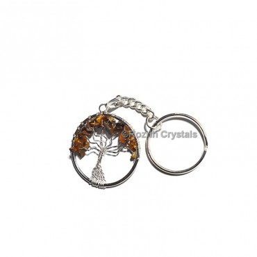 Tiger Eye  Tree Of Life Keychain