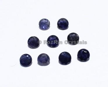 Natural Iolite Faceted Gemstone, 7 mm Blue Color Calibrated Natural Gemstone Round Shape