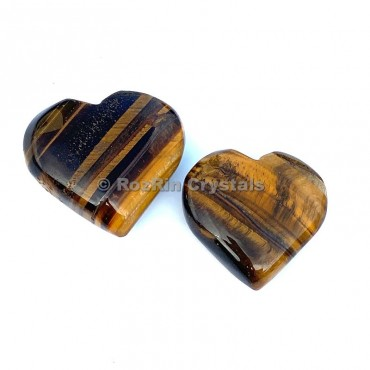 Yellow Tiger Eye Puffy Heart