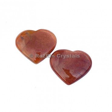 Peach Aventurine Puffy Heart