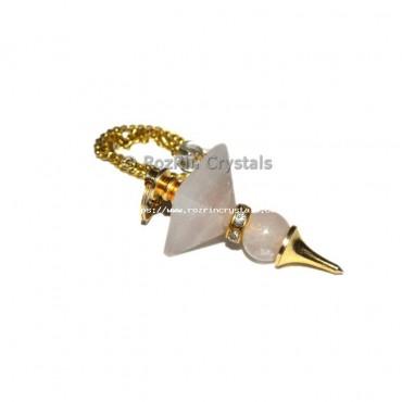 Rose Quartz Pyramid Ball Pendulums with Gold Chain
