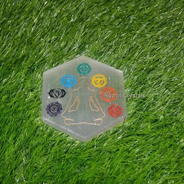 Selenite Hexagon Sanskrit Healing Plate