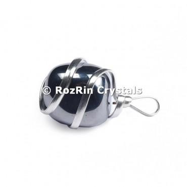 Hematite Silver Wire Wrap Pendant