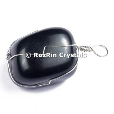 Black Obsidian Silver Wire Wrap Pendant