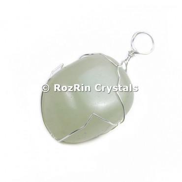 Green Aventurine Silver Wire Wrap Pendant