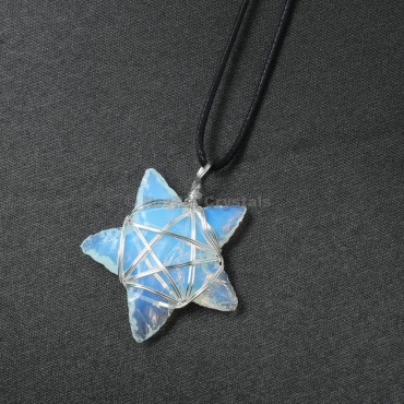 Opalite Star Wrap Pendants