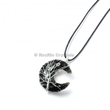 Black Obsidian Tree of life Wrap Pendants