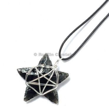 Black Obsidian Star Wrap Pendants