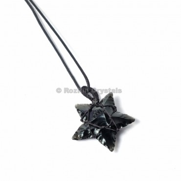 Black Obsidian Star with Cord Wrap Pendants